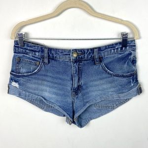 Free People 100% Cotton Denim Cut Off Jean Shorts